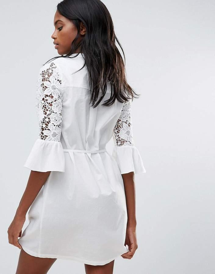 Vila Lace Detail Fluted Sleeve Shirt Dress