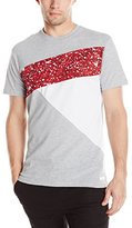 Southpole Men's Short Sleeve Cut and Sewn T-Shirt with Splash Prints In Asymmetric Style