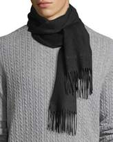 Burberry Men's Solid Logo Embroidery Cashmere Scarf