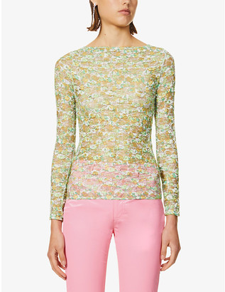 Collina Strada Cardio floral stretch-mesh top