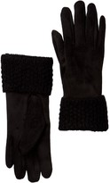 David & Young Faux Suede Knit Cuff Gloves