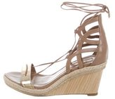 Aquazzura Leather Lace-Up Wedges