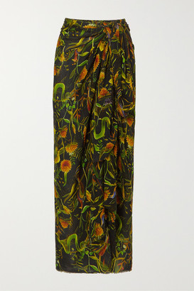 Dodo Bar Or + Annabel's Printed Cotton-voile Pareo - Black