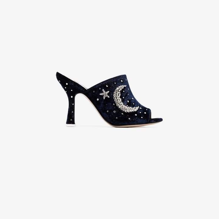 ATTICO blue crystal embellished 100 velvet mules