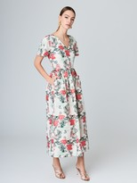 Oscar de la Renta Floral Jacquard Taffeta A-Line Dress