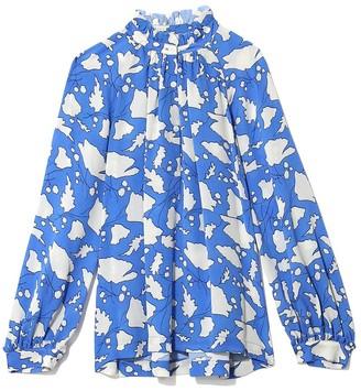 Raquel Allegra Bold Floral Silk Victorian Ruffle Blouse in French Blue