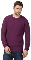 Maine New England Big And Tall Purple Textured Crew Neck Jumper