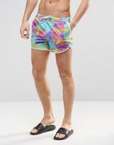 Asos Runner Swim Shorts With Neon Tie Dye Print In Short Length
