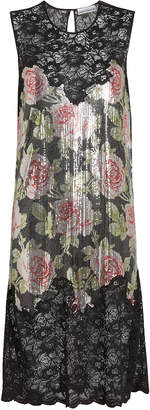 Paco Rabanne Rose Print Chainmail Dress