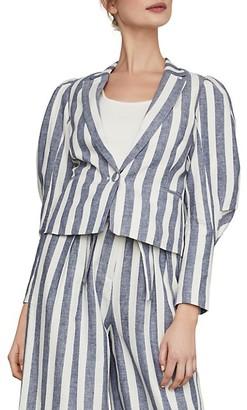 BCBGMAXAZRIA Stripe Cotton Linen Blazer