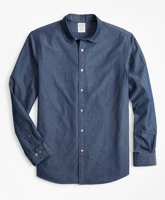 Brooks Brothers Milano Slim-Fit Sport Shirt, Golf Collar Chambray