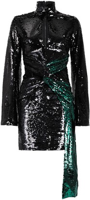 16Arlington Catherine Long Sleeve Sequin Mini Dress