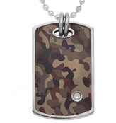 JCPenney FINE JEWELRY Mens Diamond-Accent Stainless Steel Camouflage Dog Tag
