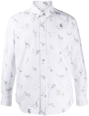 Thom Browne Animal Print Button Down Shirt