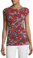 Fuzzi Rose-Print Cap-Sleeve Top