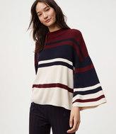 LOFT Petite Striped Drop Shoulder Sweater