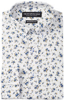 Nick Graham Blue Floral Modern Fit Long Sleeve Dress Shirt