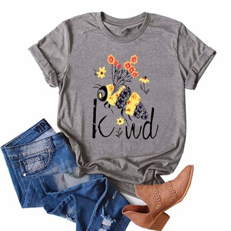 Enfei Women's Bee Kind T-Shirt Creative Cute Casual Loose Short Sleeve Round Neck Be Kind Print Top Grey
