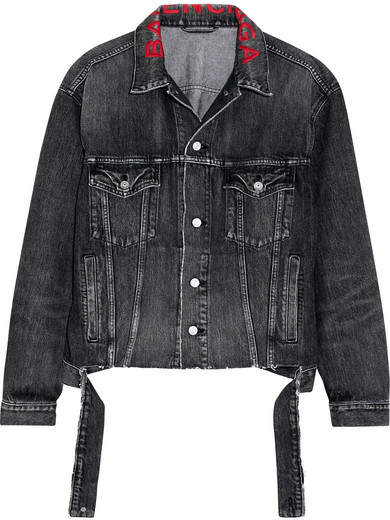 Balenciaga Oversized Embroidered Denim Jacket - Black