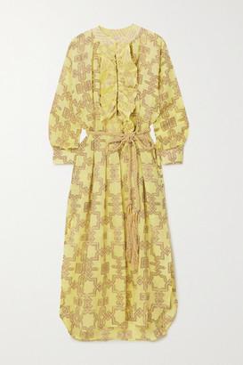 Yvonne S Belted Ruffled Printed Linen Midi Dress - Yellow