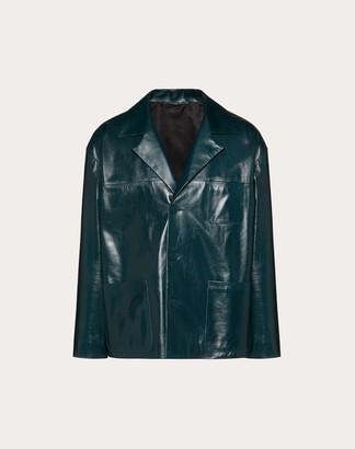 Valentino Glossy Leather Pea Coat Man Blue 100% Lambskin 44