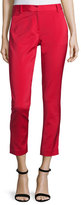 Tibi Stretch Faille Cropped Slim-Fit Pants, Cadmium Red