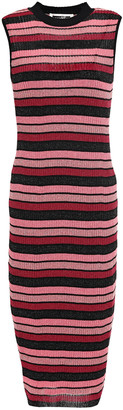 McQ Metallic Striped Ribbed-knit Dress