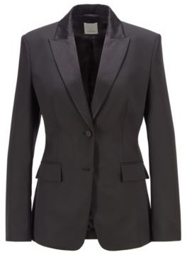 HUGO BOSS Regular Fit Tuxedo Jacket With Silk Trims - Black