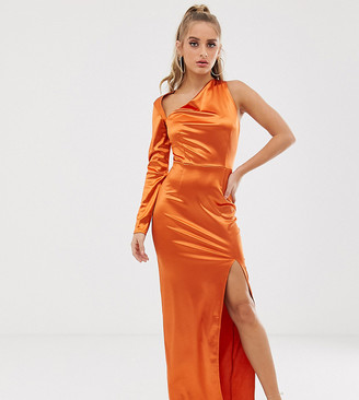 Scarlet Rocks Scarlett Rocks one shoulder slash neck maxi dress with thigh split in rust