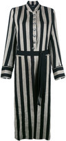 Ann Demeulemeester striped long coat - women - Cotton/Linen/Flax/Polyester/Rayon - 40
