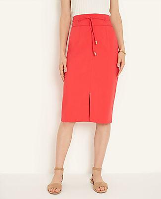 Ann Taylor Petite Knotted Tie Waist Pencil Skirt