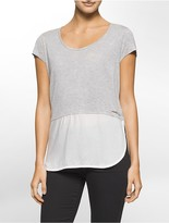 Calvin Klein Mixed Media Short Sleeve Top