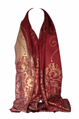 Bullahshah Two Sided Reversible Foil Print Floral Bordered Design Scarf Wrap Head Scarves Stole Shawl (Red)