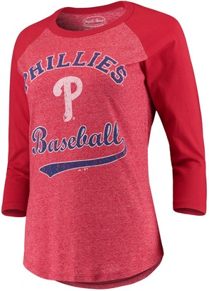 Majestic Women's Threads Red Philadelphia Phillies Team Baseball Three-Quarter Raglan Sleeve Tri-Blend T-Shirt