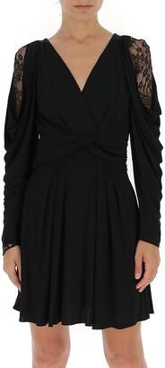 Alberta Ferretti Gathered Lace Detail Mini Dress