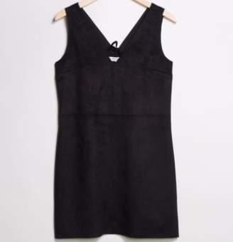 Great Plains Suedette V Neck Lace Up Dress - L - Black