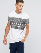 Asos Longline T-shirt With Sketchy Aztec Print In White
