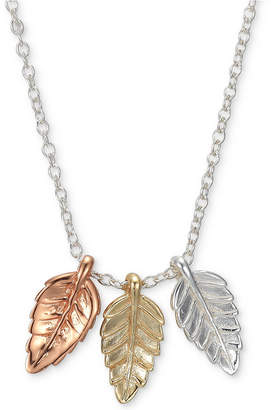 "Unwritten Tricolor Triple Leaf 18"" Pendant Necklace in Sterling Silver, Gold-Flash & Rose Gold-Flash"