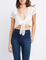 Charlotte Russe Lace Tie-Front Crop Top