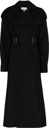 Hyke double-buckle belted trench coat