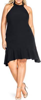 City Chic Halter Neck Ruffle Hem Dress