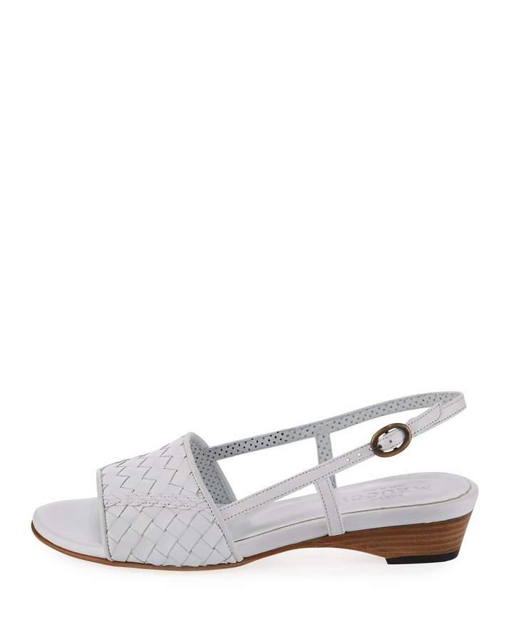 Sesto Meucci Ginger Woven Leather Sandal, White