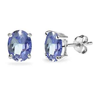Natural Tanzanite Earrings Sterling Silver 5x7 mm Oval Studs Earrings for Women Girlfriend Mom Wife Teens