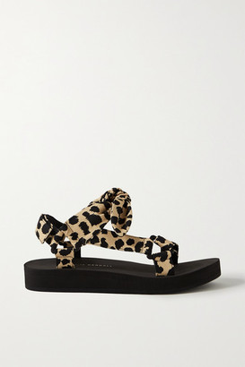 Loeffler Randall Maisie Bow-embellished Leopard-print Canvas Sandals - Leopard print