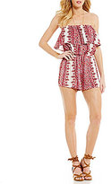 Billabong New Story Strapless Printed Ruffle Romper