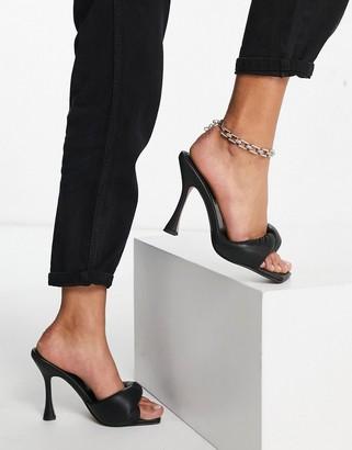 ASOS DESIGN Niki padded twist high-heeled mules in black