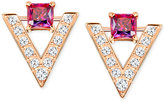 Swarovski Rose Gold-Tone Square Red Crystal Pavé Chevron Stud Earrings