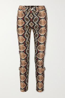 Burberry Snake-print High-rise Slim-leg Jeans - Gray green