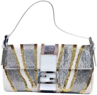 Fendi Baguette Silver Glitter Handbags