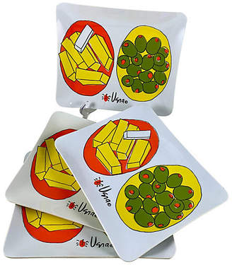 One Kings Lane Vintage Vera Canape Hors d'Oeuvres Trays - Set of 4 - yellow/green/white